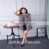Super quality New style 2016 spring fall women's long real fox fur vest blue fox fur jacket natural fox fur waistcoat