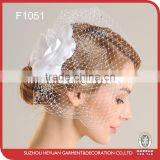 White floral with rhinestone wedding bridal bridcage style visor veil/birdal accessories
