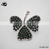 Black Diamond Clover Shape Rhinestone Brooches Leaf Brooch Pins for dress