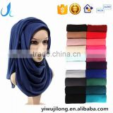hot sale solid color Muslim woman hijab scarf lady fashion soft jersey scarves