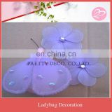 Purple Ladybug with two mini flower garden decoration