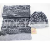 2017Wholesale Newest men's winter acrylic knitted scarf hat set