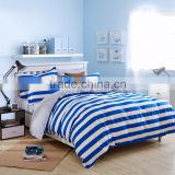 100%cotton wholesale price quilted bed sheet blue and white stripe vintage pillow case