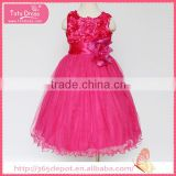 Softtextile fuchsia cotton yarn blossom dress tulle skirt children frocks designs                                                                                                         Supplier's Choice