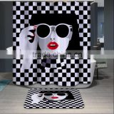 Personalized DIY printed shower curtain lady pattern digital printing shower curtain