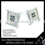 2014 hot sale silver jewelry earring black/white stones indian jhumka earring men's earring ear stud