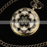 WP031 New Mens Coppery Stainless Steel Case White Dial Arabic Numbers Modern Pocket Watch With Chain