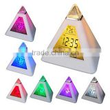 LED Color Changing Pyramid Digital LCD Snooze Alarm Clock Triangle Thermometer C/F relogio de mesa reloj despertador