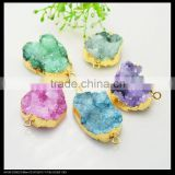 LFD-0071B Wholesale Gold Plated Drusy Druzy Quartz Connector Beads Stone in Mixed Color Jewelry Findings