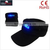 purchase popular LED hats shine flash cotton officer black cap