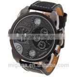 Men's Military Analog Quartz Watch Compass Thermometer Leather Band Strap