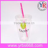 Custom Promotional gift double wall clear plastic decoration firing drinking cup with straw