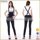 2015 denim strap piece pants black skinny women Jeans for women lady girl
