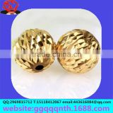 lathe parts metal brass Solid punch straight drilled hole flash golden sand watermelon flower pattern ball