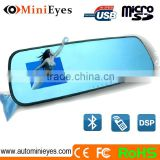Car rearview 4.3 inch Mirror Blue Screen Tooth DVR and bluetooth mirror with reverse camera and sensors