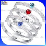 Custom Color Heart Shape Crystal Bangle Bracelet Cheap Pave Crystal Bracelet Wholesale