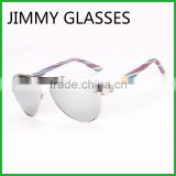 JMP614 Metal Aviator Style Sunglasses Bamboo Temple