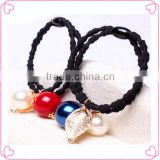 Fashion multi-color girls elastic hair band with bow and bead