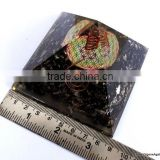 Quality Big Orgonite Black Tourmaline Pyramid With Flower Of Life Symbol With Crystal Point | Healing Pyramid