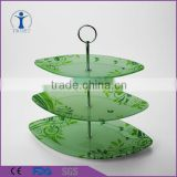 Machine made Cheap 3-pieces green wedding/home decor glass cake stand