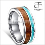 Mens Tungsten Blue Simulated Turquoise and Wood Inlay Wedding Band Ring With Free Engraving
