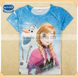 ( K5193Y ) BW 2-8Y girls short sleeve frozen 3d t shirts baby casual wear summer children clothes