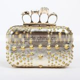 Fashion designer lady evening crystal bag, silver lady rivet evening party bag wholesale