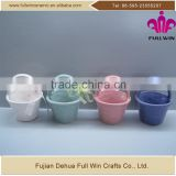 Round shape ceramic basket home decor with color ribbon