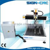 Cheaper Mini CNC Router Machine with turning axis can process wood/copper/glass/stone/stamp