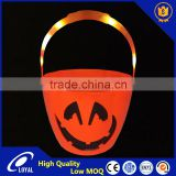 High Quality Halloween Plastic Lighted Pumpkin Bucket