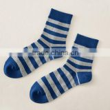 Summer Cotton crew socks with blue stripes