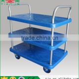 TJG-PLA250Y-T3 Stainless Steel Wheel Stay 3 Tiers Platform Cart Hand Trolley Truck
