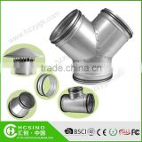 Ducting Fitting Galvanized Steel Y Tee, 3-Way Tube Duct Fitting Connector