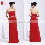 Sexy backless strapless lace up beaded red chiffon formal young ladies evening dresses 1109