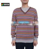 Men Wool Cashmere Knitted Striped Pullover, Men Colorful Striped Knitted Pullover Sweater