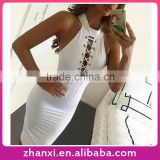 Bandage fashion girls frock bodycon midi women sexy ladies white pencil tight fitted dress