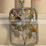 Wire Wrap Life Tree Crystal Jasper Gemstone Chip Beads Pendant Charms Craft