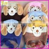 New Animal Dog Monkey Shaped Knitted Baby Cap Boy Autumn Winter Warm Hat Children Kids' Cute Cartoon Ear-protected Beanie