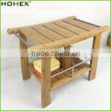 Bamboo Shower Bench Step Stool Seat w Storage Shelf Homex BSCI/Factory