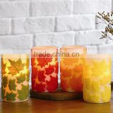 Flameless LED Autumn Decorative Candles Maple Leaves Carved Candles