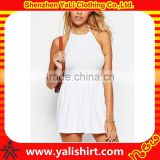 New fashion mix size casual romper halter design white soft cotton/spandex sexy ladies jumpsuit