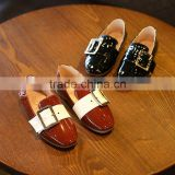 S17015A Retro style children flat casual leather shoes