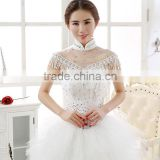 2016 off the shoulder bridal jacket wedding wraps rhinestones lace Bride Jewelry Full crystal shoulder chain women Cape shawl