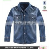latest design washed denim fabric double pockets embroidery boys shirt