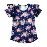 baby clothes online shopping ruffle short sleeve floral printing navy t-shirts custom baby clothes summer baby clothes