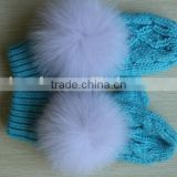 Baby blue cute children's plush mittens gloves/ Write warmer thick gloves/ fox fur pompon gloves