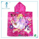 100% cotton cute beautiful princess cartoon printed kids hooded bath towel cloak for Christmas gift