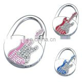 Fashion guitar style enamel crystal handbag punching hook