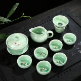 Dark green kung fu tea set.