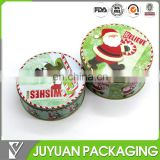 Christmas candy tin can wholesale, round metal chocolate tin can